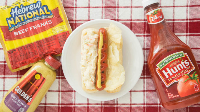The American - Hot Dog Recipe with Potato Salad and Potato Chips