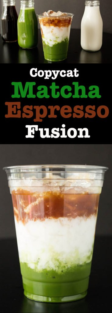 How to make a Copycat Starbucks Matcha Espresso Fusion layered drink