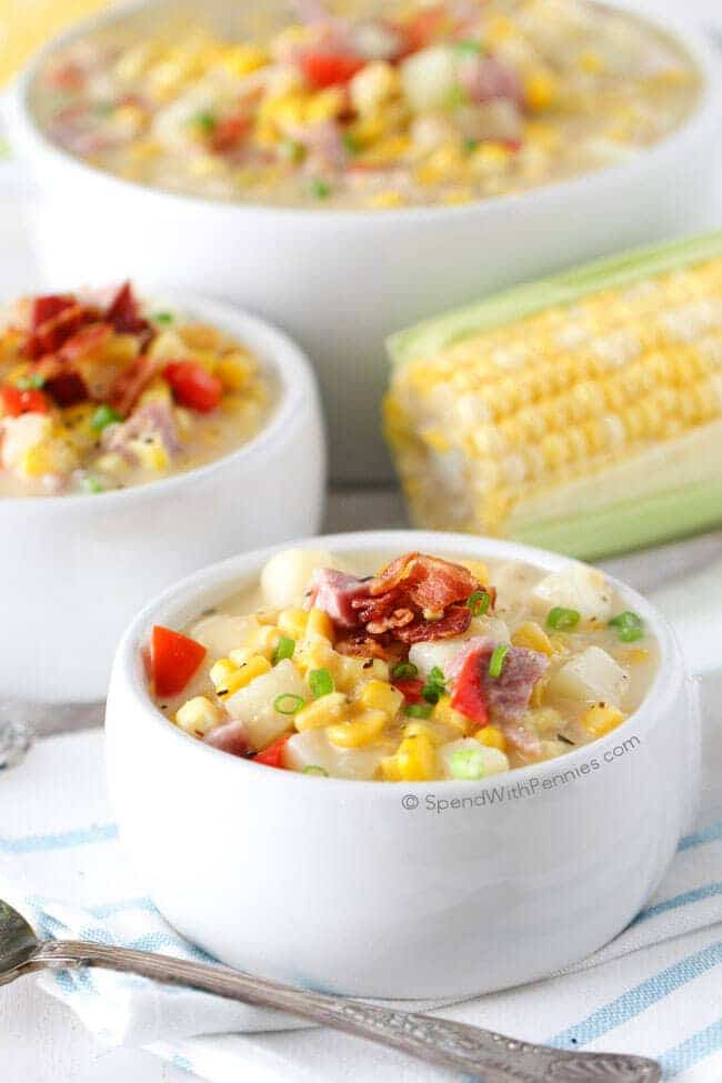 Ham & Corn Chowder - Fall Dinner Recipe - 100+ Fall Recipes