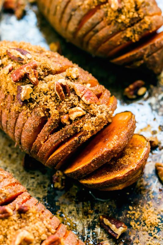 Hasselback Sweet Potatoes - 100+ Fall Recipes