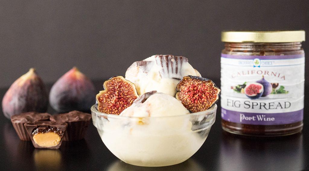 Mascarpone Ice Cream with Mini Dark Chocolate Almond Butter & Fig Jam Cups