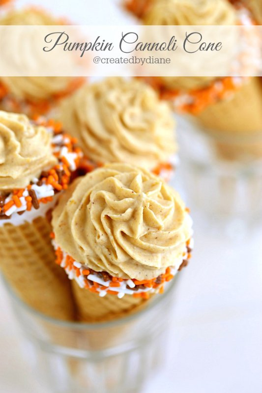 Pumpkin Cannoli Cones - Fall Dessert Recipes