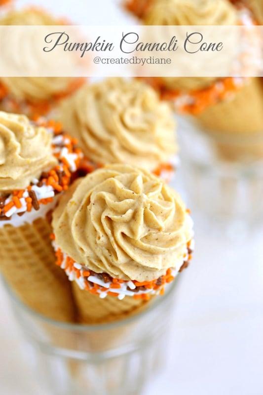 Pumpkin Cannoli Cones - Fall Dessert Recipes