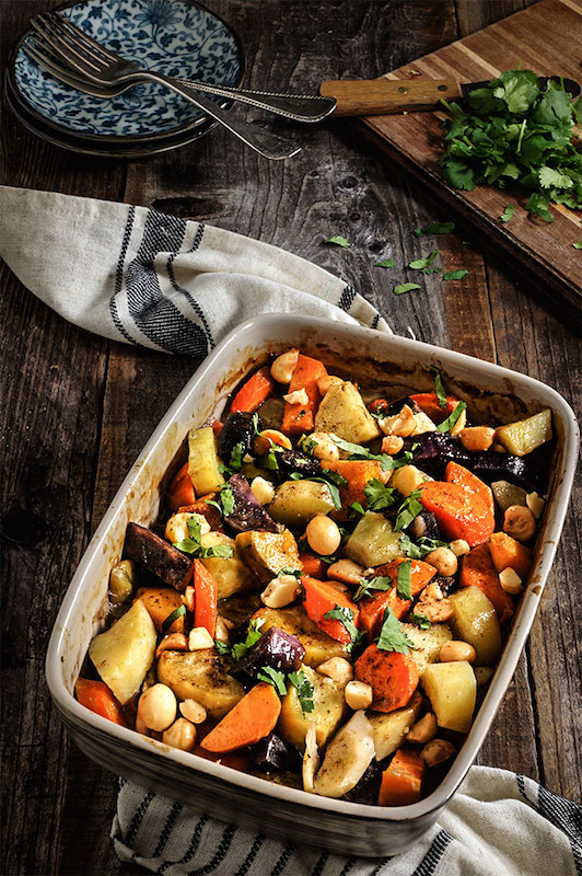 Roasted Root Vegetables with Coconut Milk & Macadamia Nuts - Fall Dinner Recipes