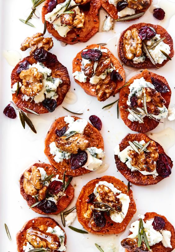 Sweet Potato Crostini with Blue Cheese & Honey - Fall Recipes