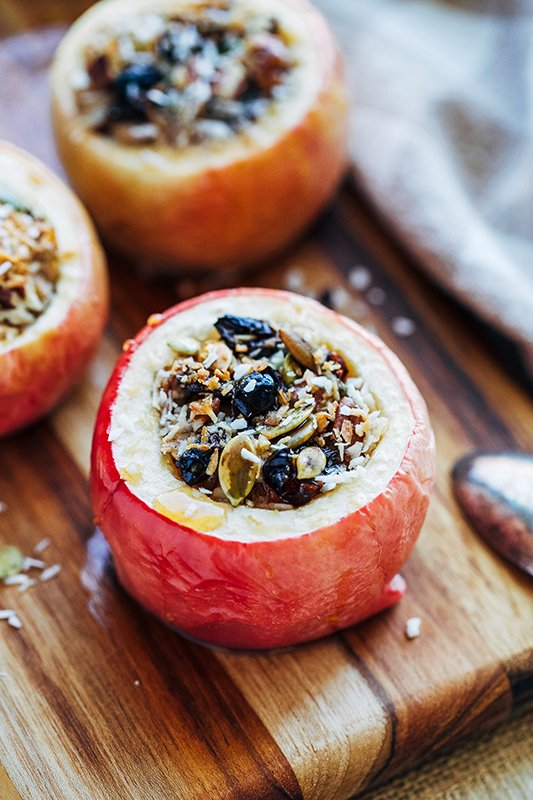 Almond Butter Baked Apples - Healthy Fall Recipes