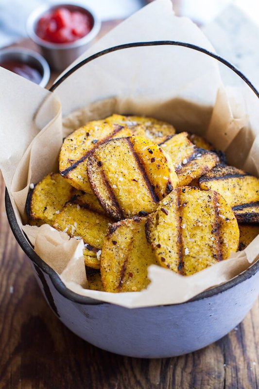 Grilled Parmesan Polenta Chips - Fall Appetizer Recipes
