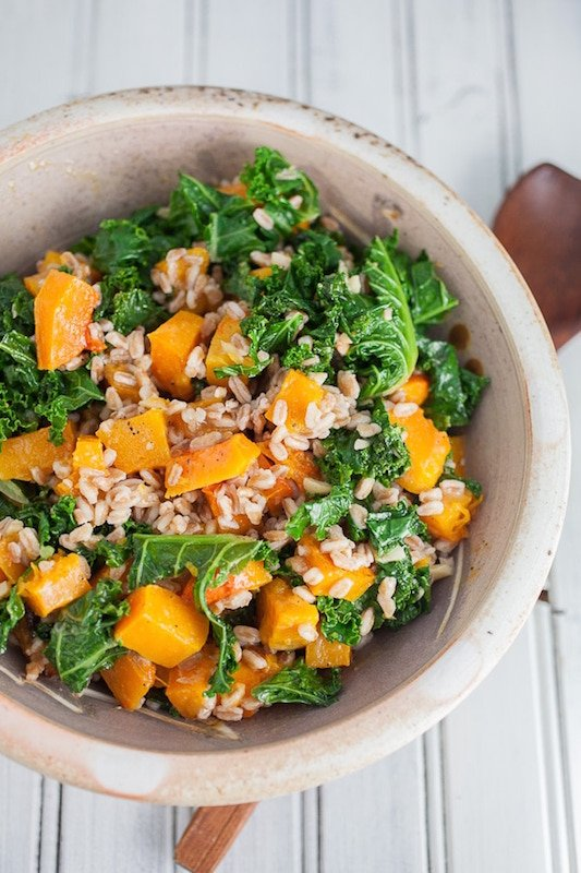 Roasted Butternut Squash Kale & Farro Salad