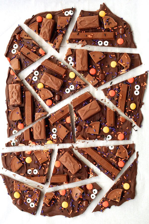 Leftover Halloween Chocolate Candy Bark - Fall Dessert Recipes