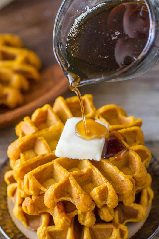 Pumpkin Spice Waffles - Fall Breakfast Recipes
