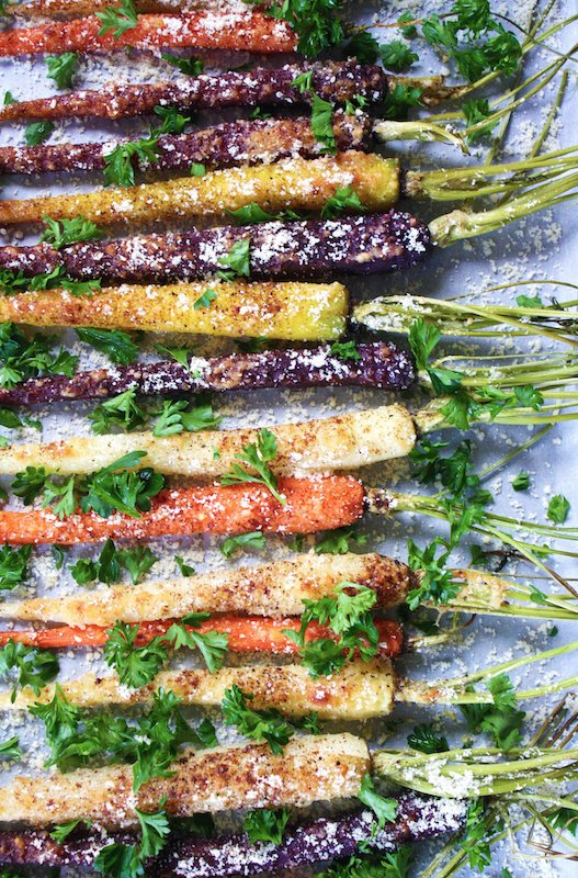Roasted Maple Parmesan Rainbow Carrots - Fall Recipes