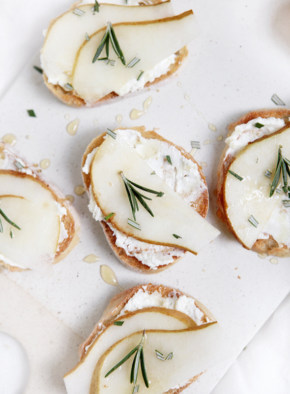 Whipped Pear Feta Crostini - Fall Appetizer Recipes