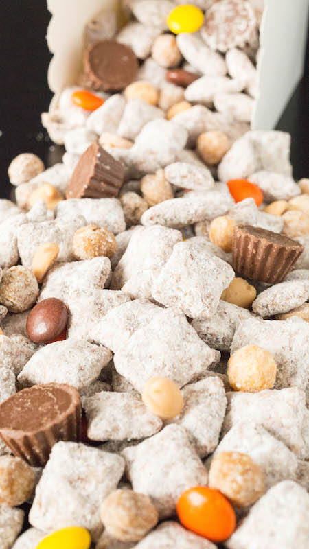 Best Reese's Puppy Chow Recipe with Mini Reese's Cups, Reese's Pieces, Reese's Puffs Cereal, and Reese's Peanut Butter Chips