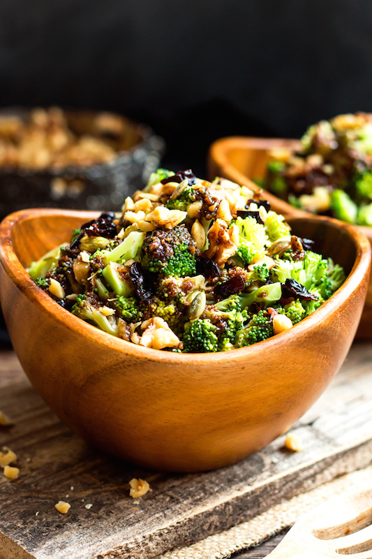 Chopped Broccoli Salad with Balsamic, Walnuts, and Cranberries - Make Ahead Thanksgiving Side Dish Recipes