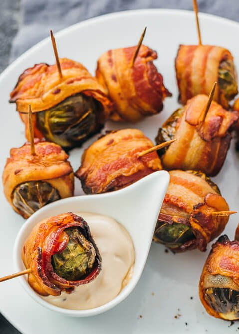 Bacon Wrapped Brussel Sprouts - Make Ahead Thanksgiving Appetizer Recipes