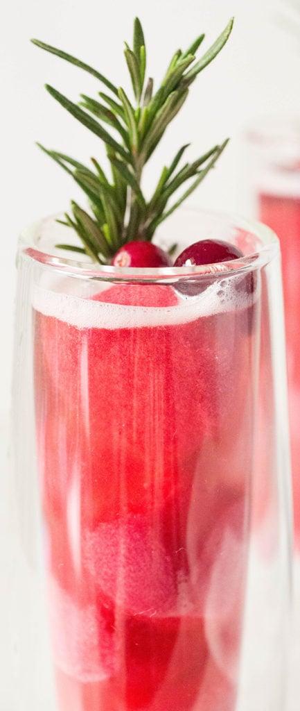 Christmas Cranberry Sorbet Rosé Mimosa Recipe - Christmas Cocktail Recipes