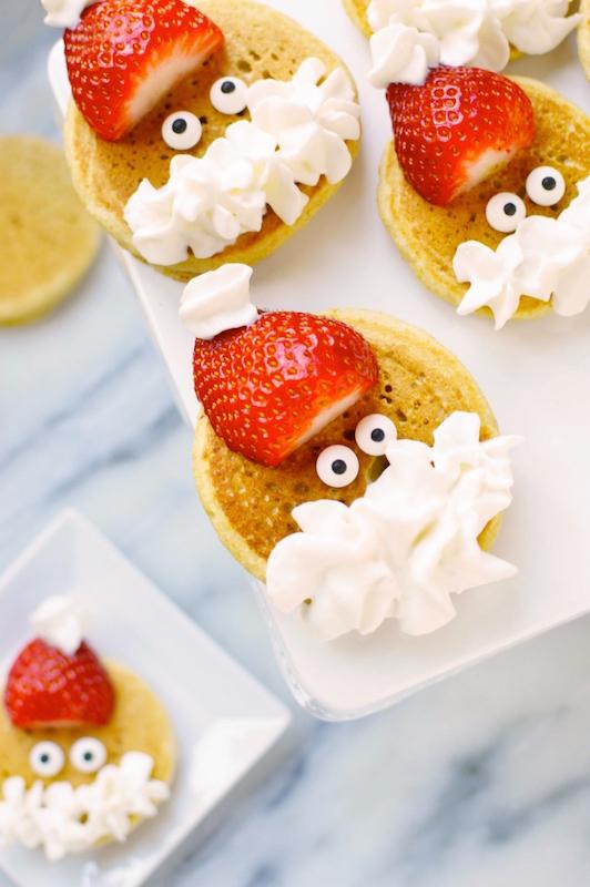 Bite Size Santa Pancakes - Best Christmas Breakfast Recipes