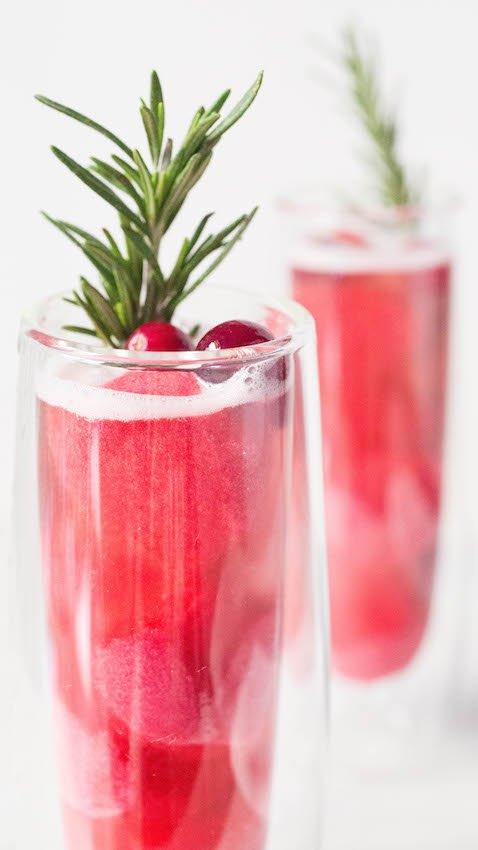 Christmas Cranberry Mimosa with Rosé and Cranberry Sorbet