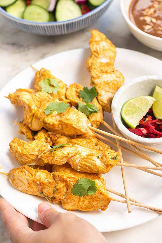 Spicy Peanut Chicken Satay - Chicken Dinner Recipes Made in Less Than 30 Minutes