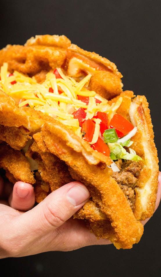How to make waffled mozzarella stick tacos