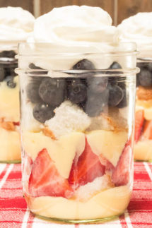 Mini July 4th Angel Food Cake Trifles in Mason Jars