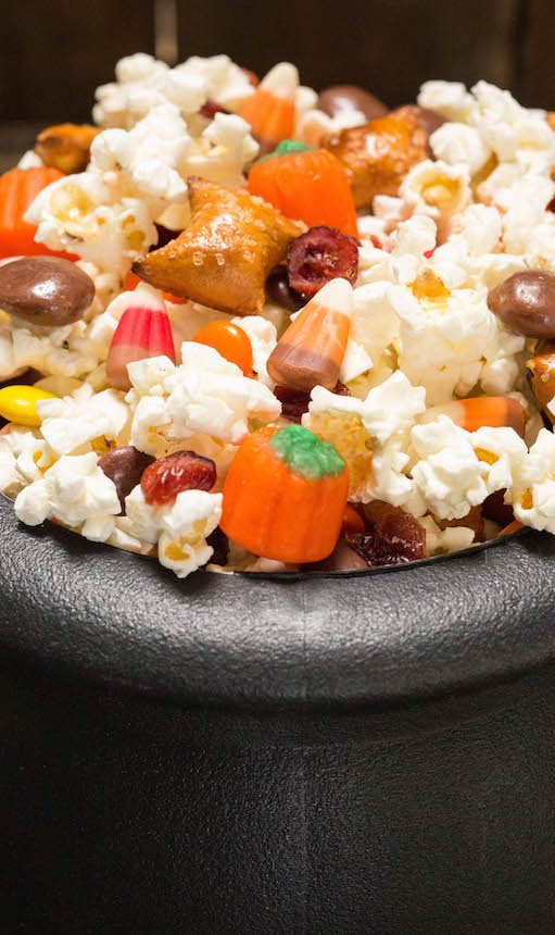 Halloween Snack Mix with popcorn and candy corn