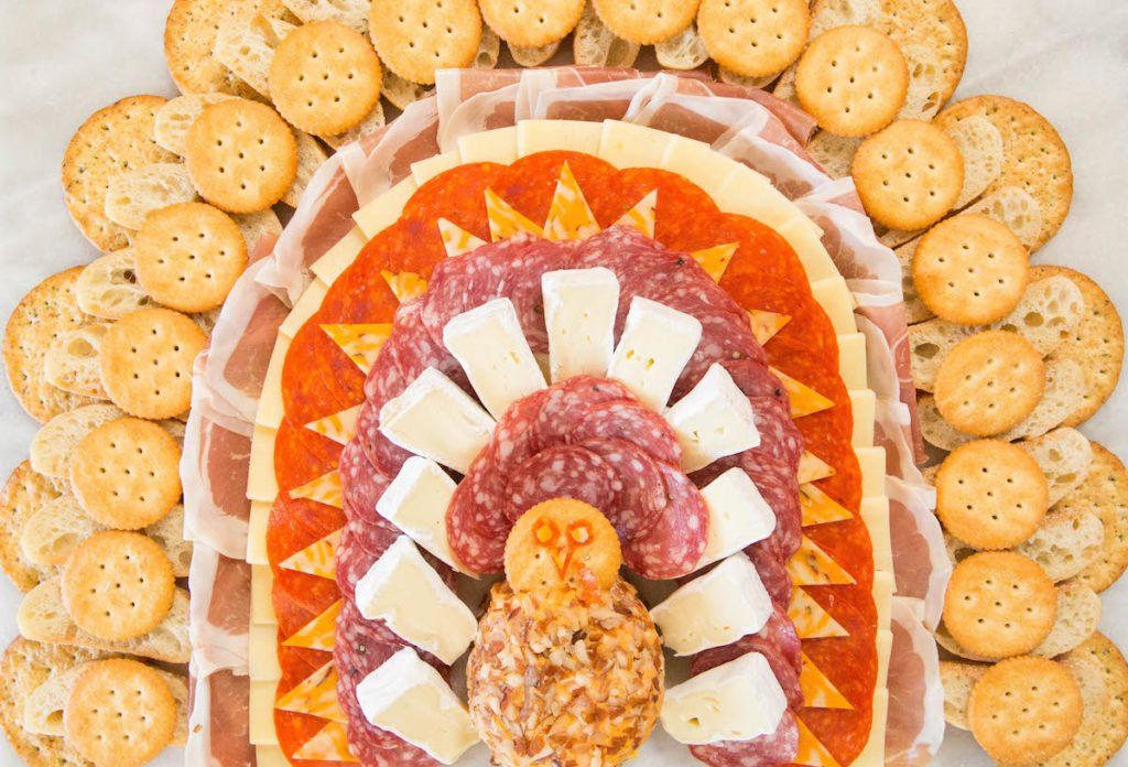 Thanksgiving Turkey Meat & Cheese Platter