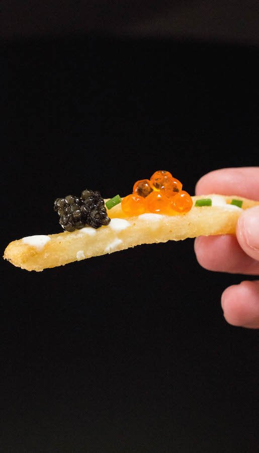 Caviar Fries with Lemon Creme Fraîche and Chives
