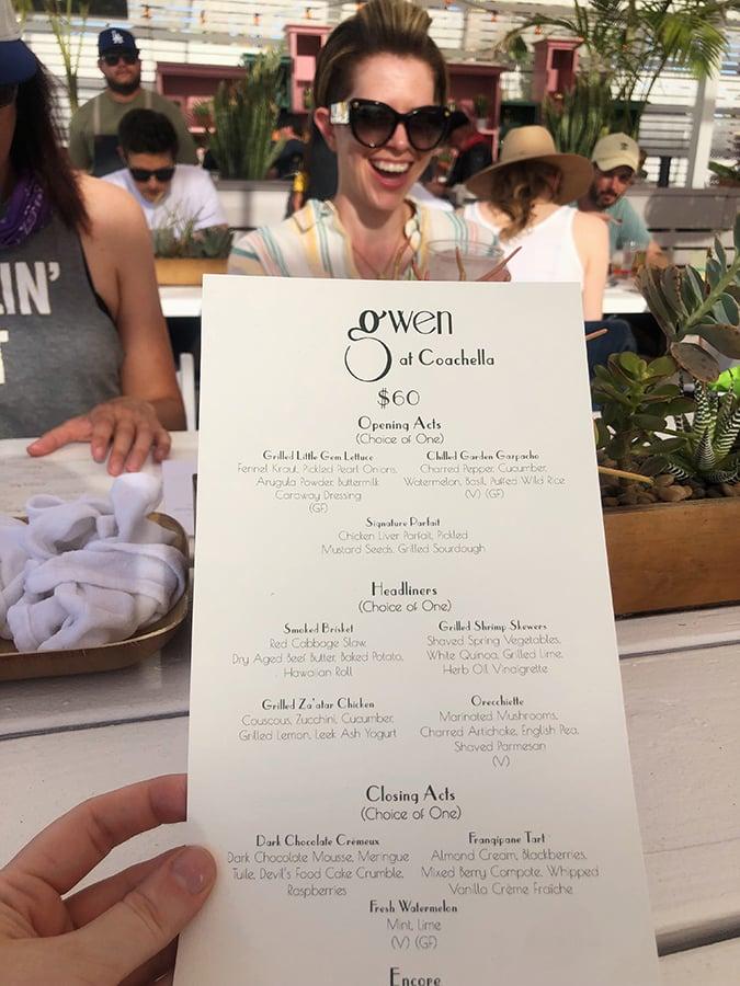 Coachella VIP Food - Gwen Menu