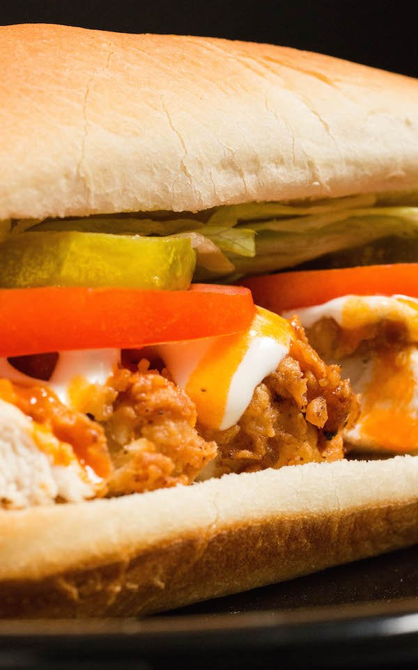 Chicken Tender Subs with ranch and buffalo sauce