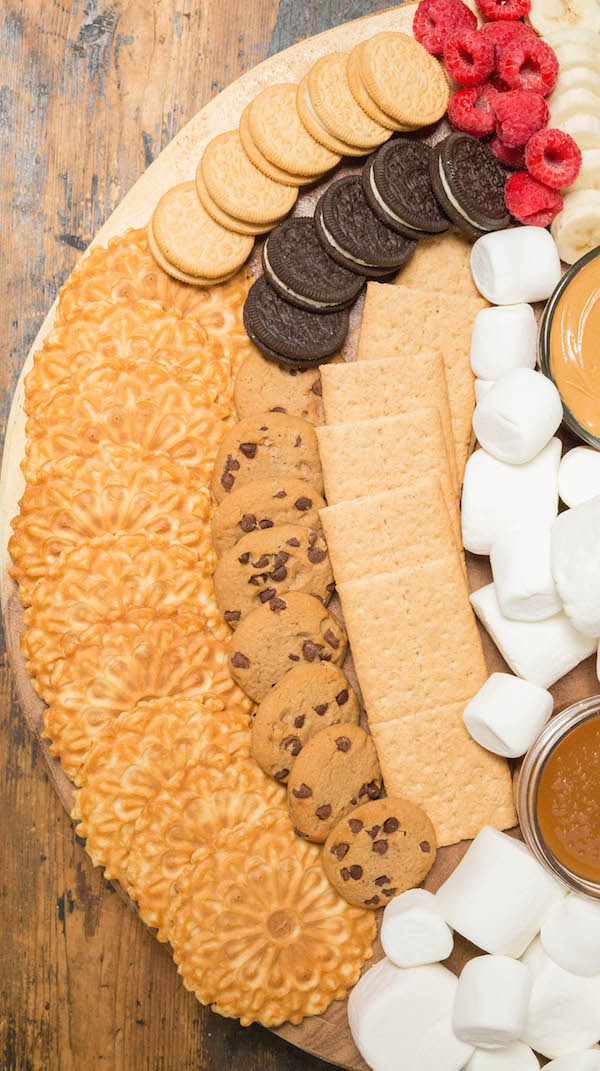 S'mores Board with Graham Crackers, Oreos, and Chocolate Chip Cookies