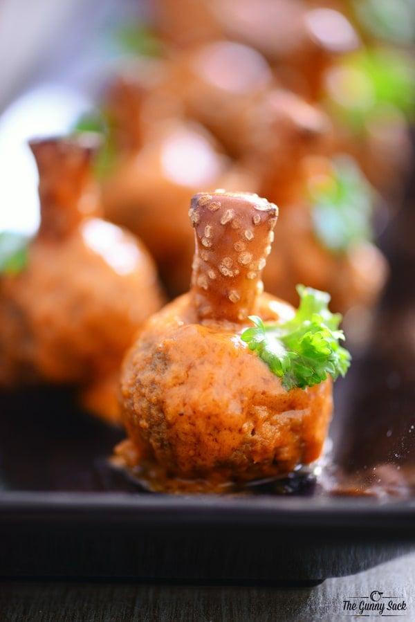 Halloween Party Appetizers - Buffalo Meatball Pumpkins