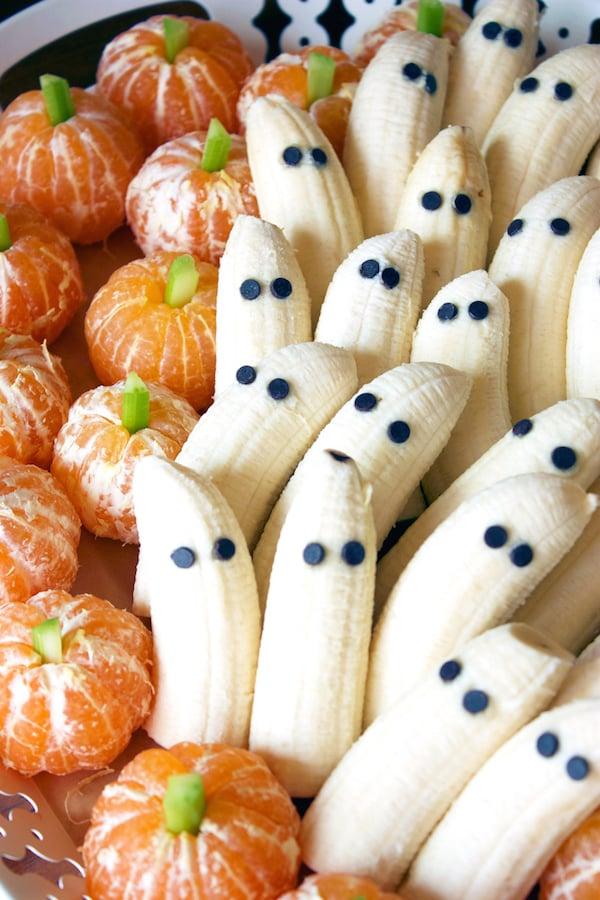 Pumpkin Tangerines & Banana Ghosts - Halloween Party Appetizers