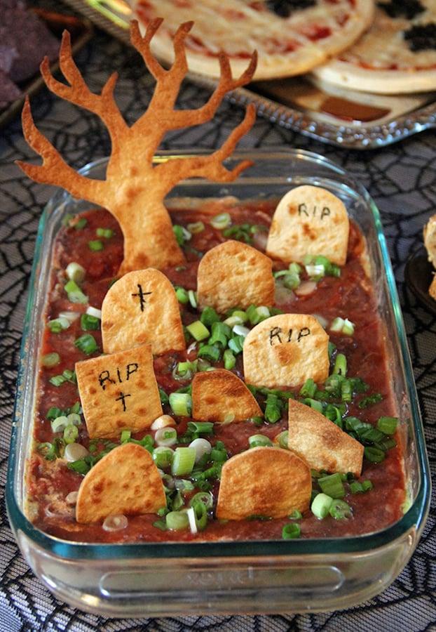 Graveyard Taco Dip - Halloween Party Appetizers