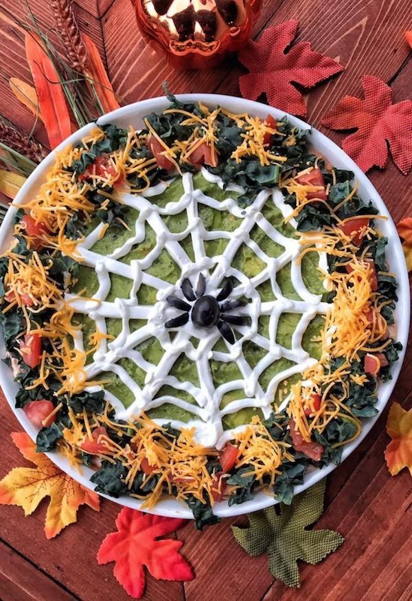 Halloween Spider Web Taco Dip Appetizer