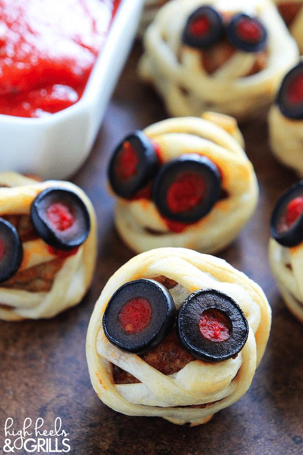 Meatball Mummies - Halloween Party Appetizers