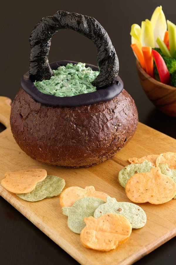 Spooky Spinach Dip Cauldron Halloween Party Appetizer