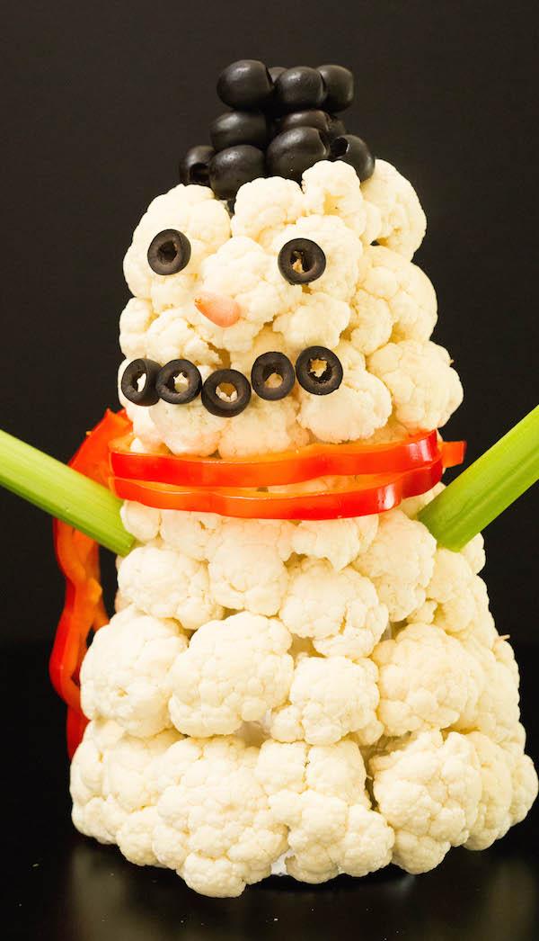 Snowman Christmas Veggie Tray