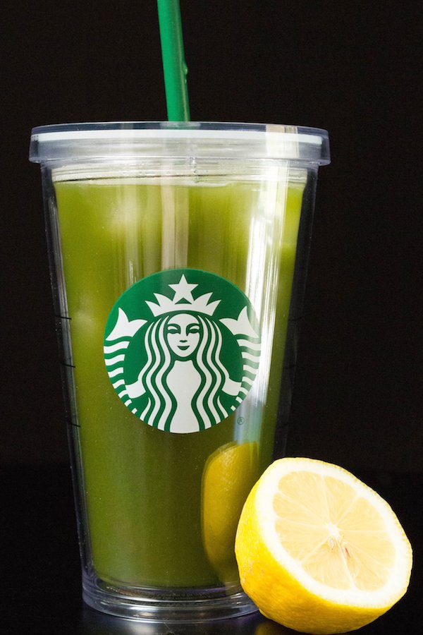 Starbucks Matcha Lemonade in a grande tumbler cup on a black background
