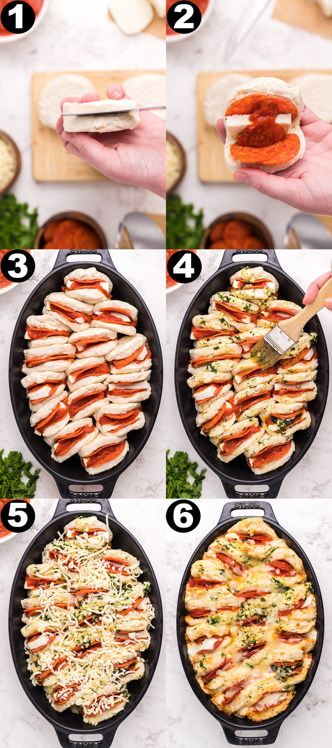 Collage showing the steps to making pizza biscuit casserole. Photo 1 - slicing open a raw canned biscuit, 2 - filling it with pepperoni, pizza sauce and cheese, 3 - arranging the biscuits in a casserole dish, 4 - brushing on garlic butter, 5 - adding shredded mozzarella to the top, 6 - the casserole after it has been baked.