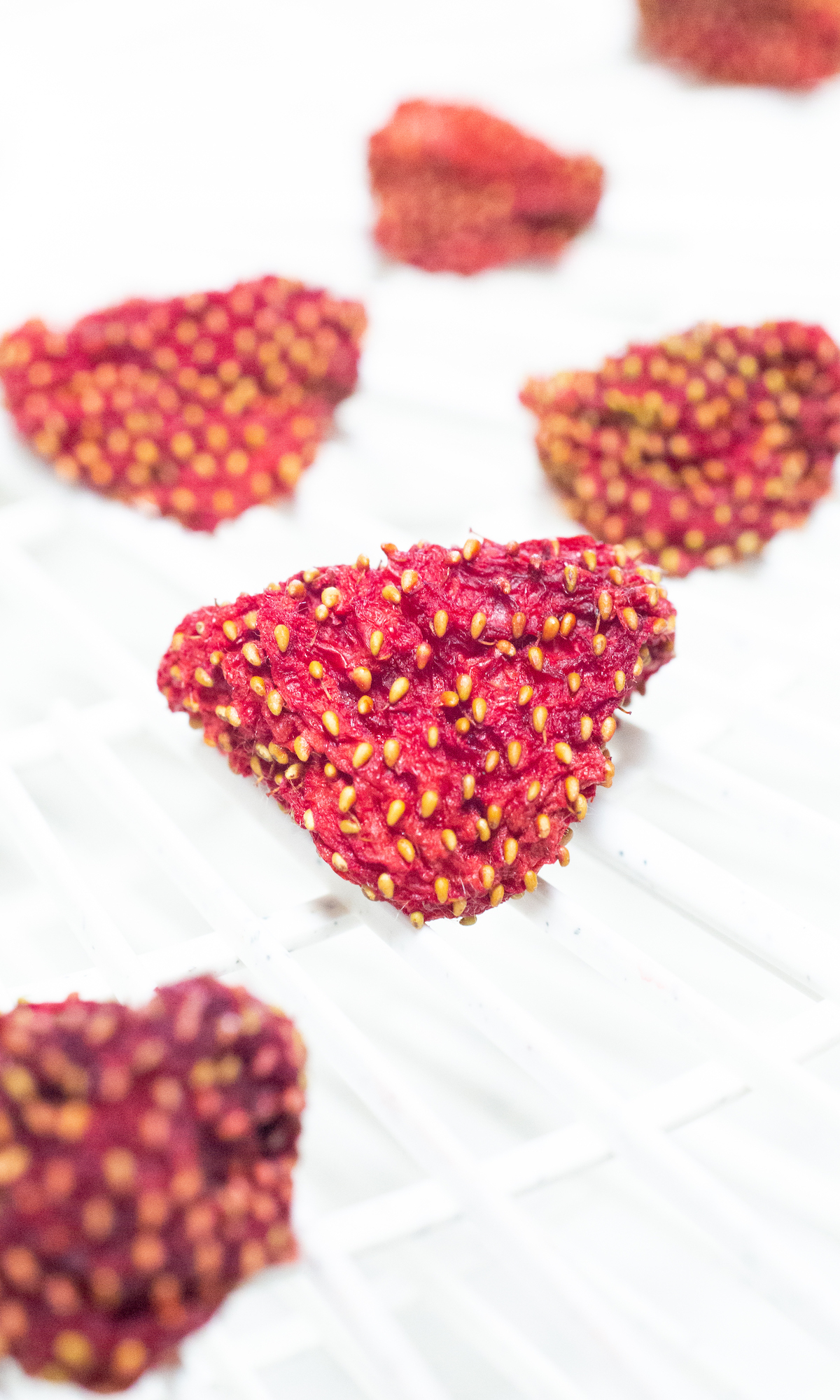 Two rows of whole strawberries that have been dehydrated sit on a dehydrator tray