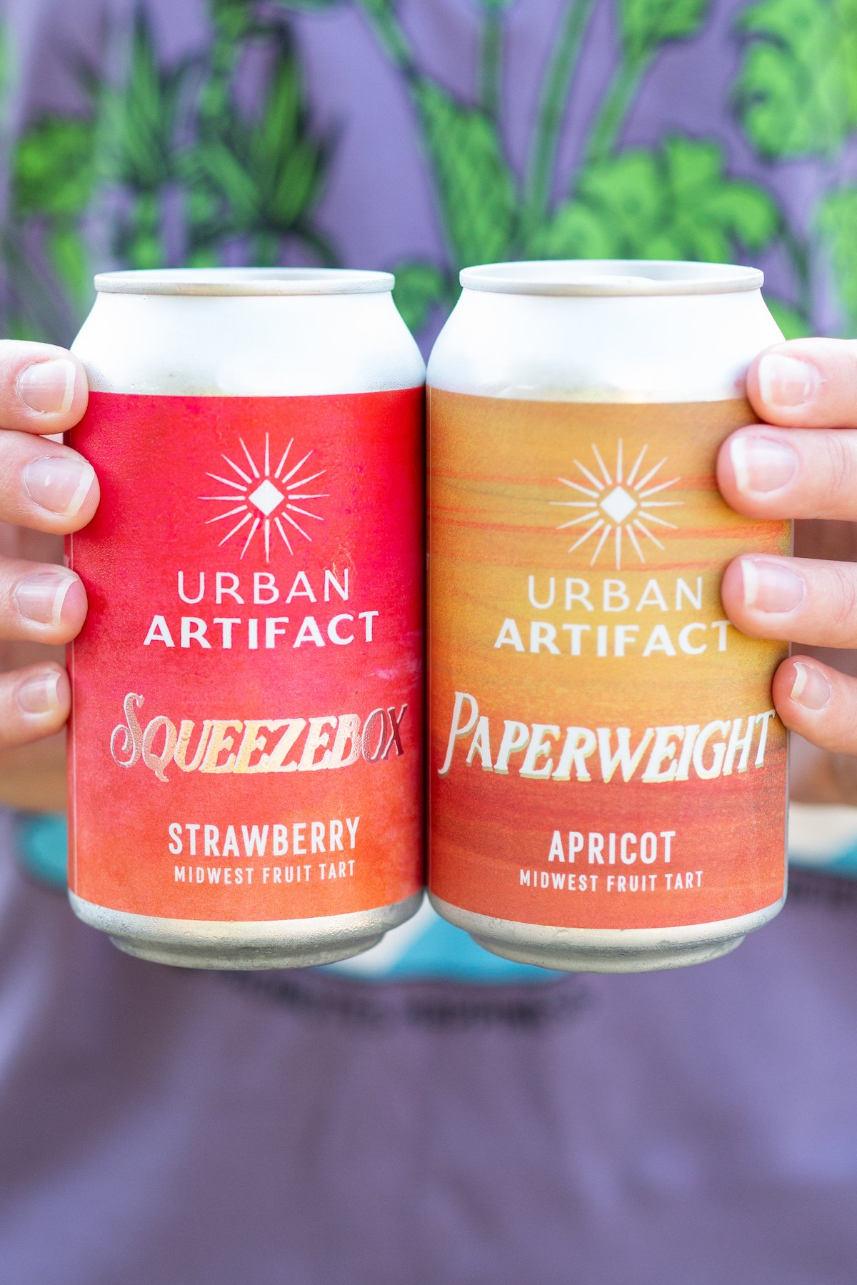 Two hands hold up two cans of Urban Artifact Midwest Fruit Tart sour beers.