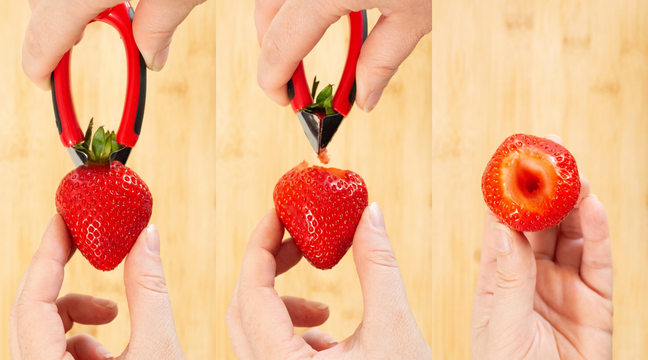 A three photo collage showing a starwberry hulling tool pierce the top of a strawberry and pull out the stem.